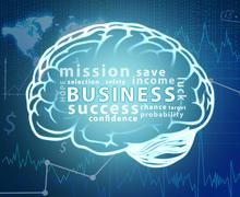 Business word cloud in contour of brain - stock illustration