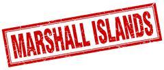 Marshall Islands red square grunge stamp on white Stock Illustration