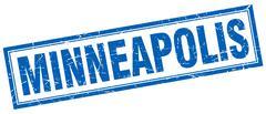 Minneapolis blue square grunge stamp on white Piirros