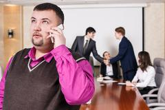Businessman speak on the phone Stock Photos