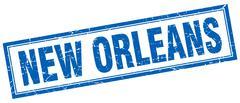 New Orleans blue square grunge stamp on white Stock Illustration