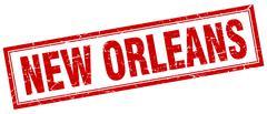 New Orleans red square grunge stamp on white Stock Illustration