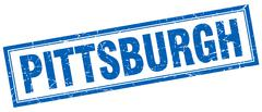 Pittsburgh blue square grunge stamp on white - stock illustration