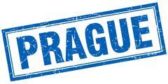 Prague blue square grunge stamp on white Stock Illustration