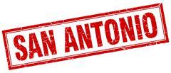 San Antonio red square grunge stamp on white - stock illustration