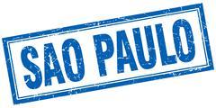 Sao Paulo blue square grunge stamp on white - stock illustration