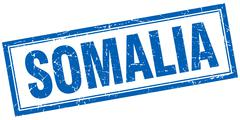 Somalia blue square grunge stamp on white - stock illustration