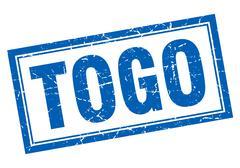 Togo blue square grunge stamp on white Stock Illustration