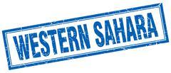 Western Sahara blue square grunge stamp on white - stock illustration