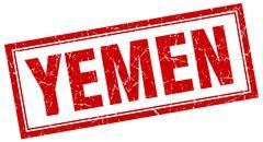 Yemen red square grunge stamp on white Stock Illustration