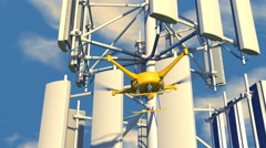 UAV drone inspecting a cellular communications array, 3D animation - stock footage
