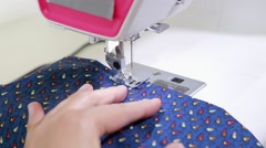 Fabric sewing machine close up Stock Footage
