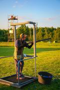 Athletes shoot at targets - stock photo