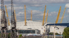 docklands canary wharf london o2 millenium dome 4k - stock footage