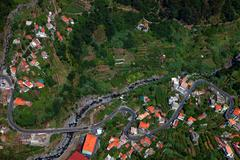 Curral das Freiras, view from above, at Madeira island, Portugal Stock Photos