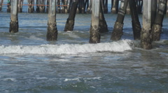 Group of pilings under the Santa Monica Pier. Stock Footage