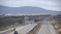 European Highway traffic tele lens close up stabilized 16 Stock Footage