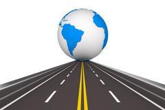 Road round globe on white background. Isolated 3D image - stock illustration