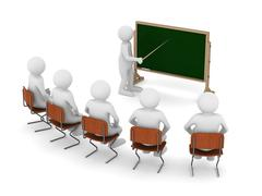 teacher with pointer at blackboard. Isolated 3D image - stock illustration
