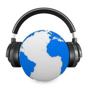 Headphone and globe on white background. Isolated 3D image Piirros