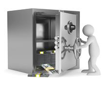 Man and safe on white background. Isolated 3D image Stock Illustration