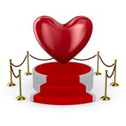 Podium and heart on white background. Isolated 3D image Piirros