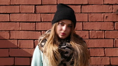 Street fashion. Cute models on the street. Stock Footage
