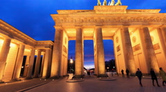 Berlin - City Night Timelapse Brandenburg Gate Germany Time Lapse Hyperlapse 4k Stock Footage