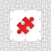 Seamless texture white puzzle. 3D image - stock illustration