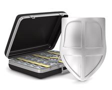 Case with money on white background. isolated  3D image Stock Illustration
