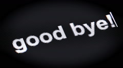"""good bye!"" on the screen Stock Footage"