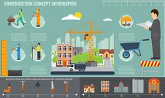 Construction infographics set with engineer and workers equipment tools. - stock illustration