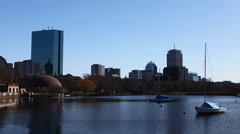 4K UltraHD Timelapse Boston, Massachusetts with boats in foreground Stock Footage