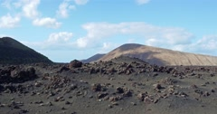 Aerial view vulcano Lanzarote in the sun Stock Footage