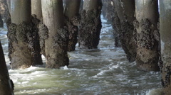 Waves crash against the pilings under the Santa Monica Pier. Stock Footage