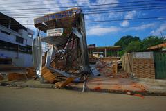 Portoviejo, Ecuador - April, 18, 2016: Metal structure from building destroyed Stock Photos
