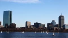 4K UltraHD Timelapse Boston skyline with sailboats Stock Footage
