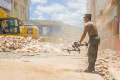 Portoviejo, Ecuador - April, 18, 2016: Drone operated by army to search for - stock photo