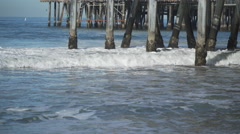 The pilings under the the Santa Monica Pier. Stock Footage