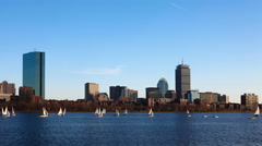 4K UltraHD Timelapse Boston city center with sailboats Stock Footage