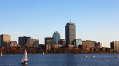 4K UltraHD Timelapse Boston city center with sailboats in foreground Stock Footage