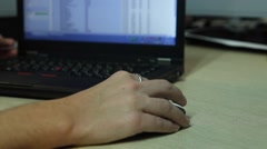 Hand on a computer mouse. - stock footage