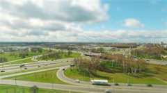 Daily traffic miniature tilt shift lens effect time lapse loop - stock footage