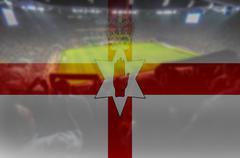 euro 2016 stadium with blending Northen Ireland flag - stock photo