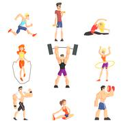 Stock Illustration of Gym People Set