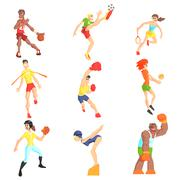 Sports People Set - stock illustration