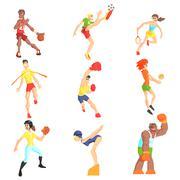 Sports People Set Stock Illustration