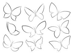 Butterflies vector set outlined silhouettes for design, icons, symbols, decor - stock illustration