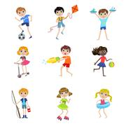 Kids On Summer Vacation Collection Stock Illustration