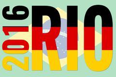 rio 2016 - germany flag on brazil flag - stock illustration
